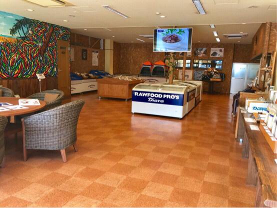 ディアラ・ローフードプロズの内観。広々とした店内は、ワンちゃん連れのお客様もゆったり過ごせる配慮がある。