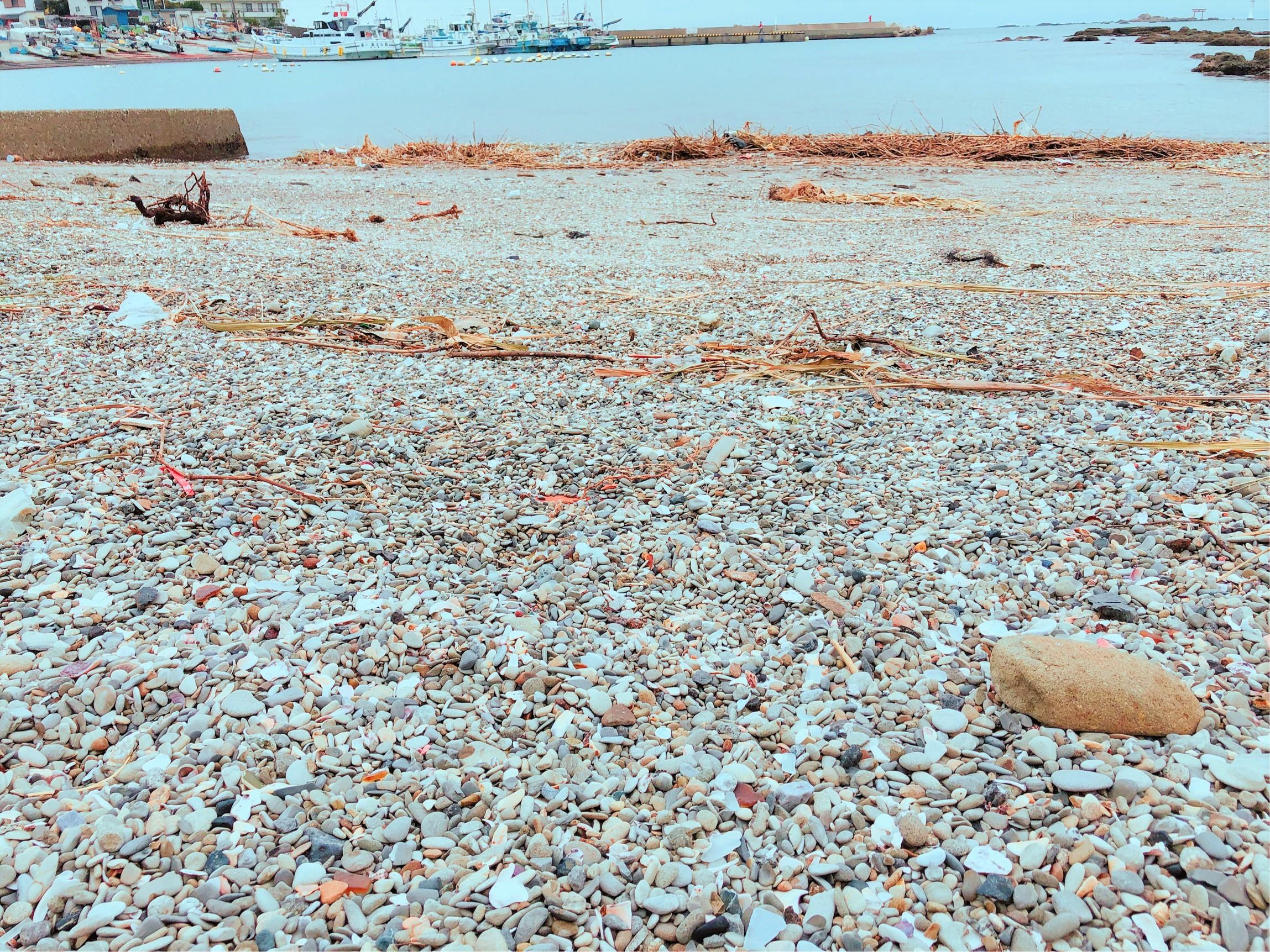 真名瀬海岸と砂浜。この中からシーグラスが見つかるかな?