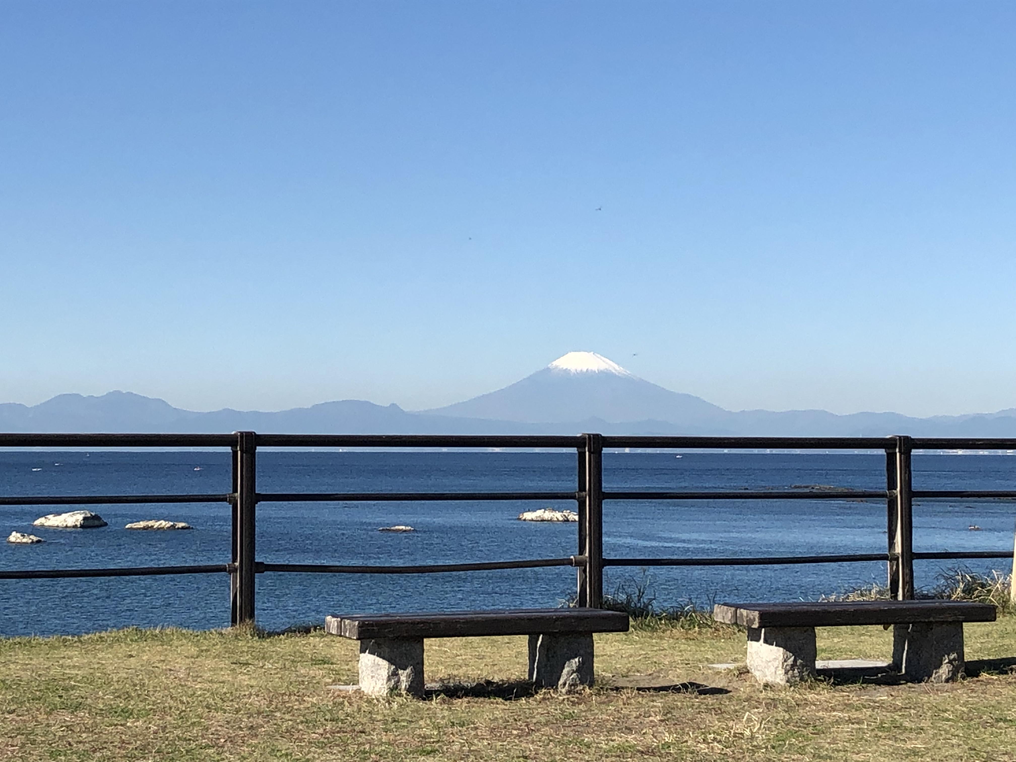 葉山公園から見た富士山。11月の冷たい朝の澄んだ空気が、くっきりとした富士山を見せてくれる。