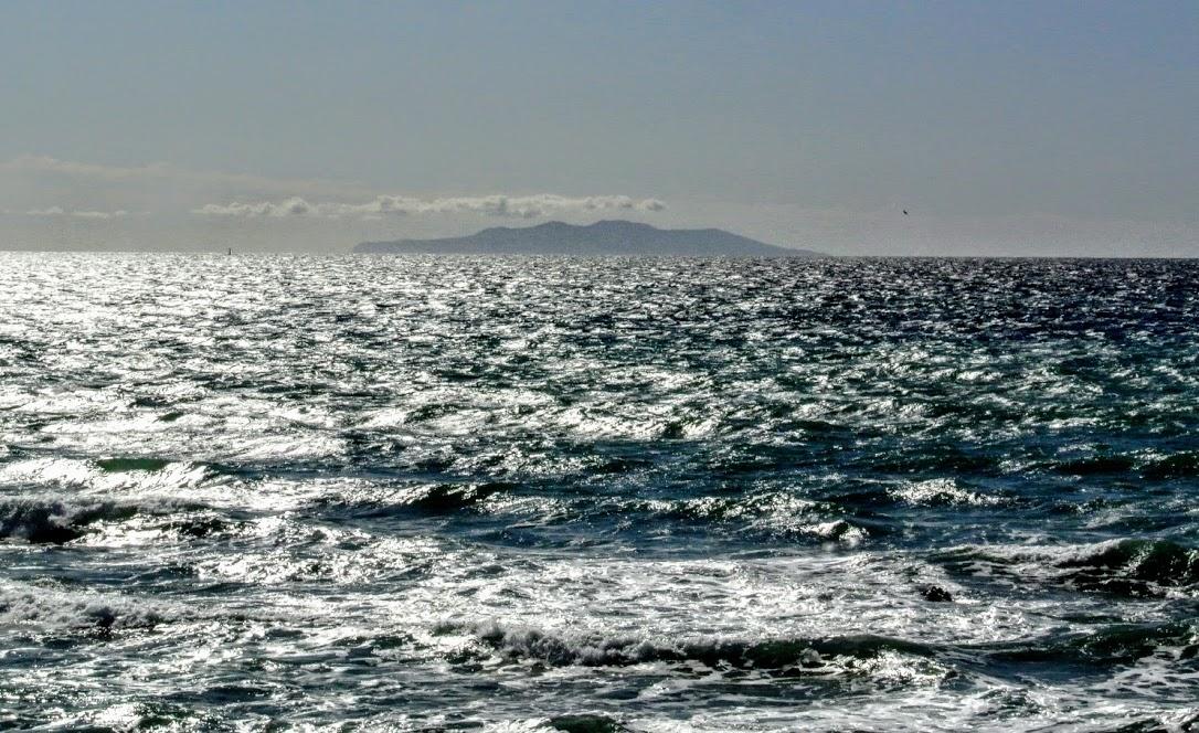 キラキラ輝く海の先に、大島のシルエットが浮かんでいる。