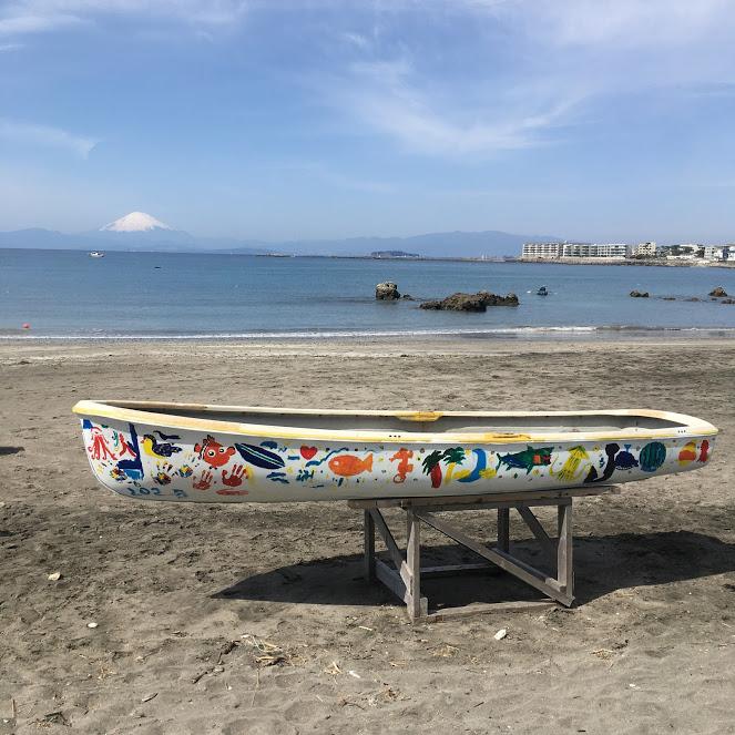 一色海岸に置かれた一色BOATのボート。白いボートには色とりどりの魚やヤシの木、スイカの絵が描かれている