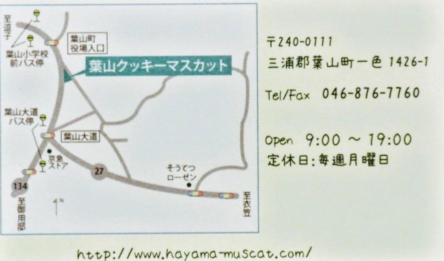 左には地図、右には住所・電話番号・定休日が書かれている。Openは9:00~19:00、定休日は毎週月曜日