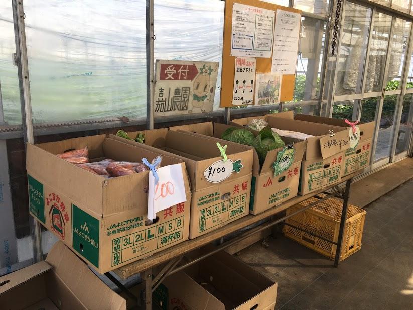 嘉山農園では葉山産の野菜も直売している
